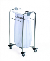 1 BAG STAINLESS STEEL MEDI LAUNDRY CART WITH WHITE LID