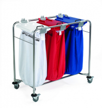 3 BAG STAINLESS STEEL MEDI LAUNDRY CART WITH WHITE, RED AND BLUE LIDS