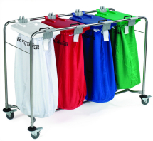 4 BAG STAINLESS STEEL MEDI LAUNDRY CART WHITE, RED, BLUE AND GREEN LIDS