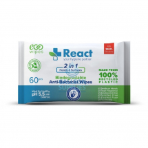 REACT ANTI-BACTERIAL WIPES TRAVEL SIZE