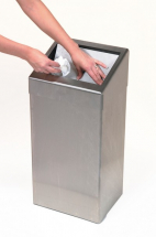 STAINLESS STEEL WASHROOM WASTE PAPER BIN 50LTR WITH LID
