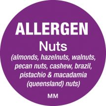 DAYMARK ALLERGEN NUTS LABEL 25MM CIRCULAR