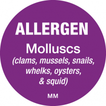 DAYMARK ALLERGEN MOLLUSCS LABEL 25MM CIRCULAR
