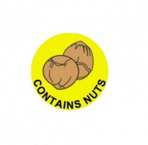 25MM DURAMARK CONTAINS NUTS CIRCULAR YELLOW LABEL