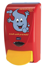 DEB SOAP DISPENSER RED - SOAPY SAYS FOR CHILDREN 1LTR