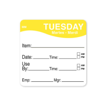 2inch REMOVABLE DAY OF THE WEEK LABEL TUESDAY