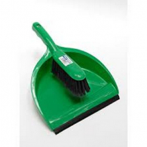 JANGRO DUSTPAN & BRUSH STIFF GREEN