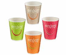 DW12 EMBOSSED ENJOY 12OZ CUP MIXED COLOURS