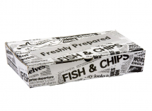 FISH AND CHIP BOX LARGE NEWS PAPER PRINT 153 X 310 X 52MM