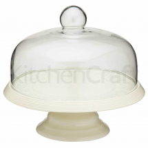 KITCHENCRAFT CERAMIC CAKE STAND WITH GLASS DOME