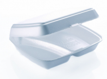 TWO COMPARTMENT FOOD BOX 247 X 198 X 75MM HINGED LID