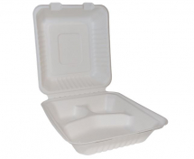 BAGASSE HINGED FOOD BOX 3 COMPARTMENTS 8 x 8inch