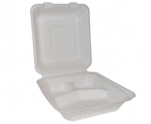 BAGASSE SQUARE LUNCH BOX 8 X 8inch 3 COMPARTMENTS