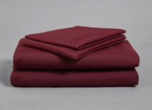 BURGUNDY SINGLE FITTED POLY COTTON SHEET 191 X 90CM