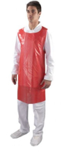 DISPOSABLE POLYTHENE APRON; 27X46 RED