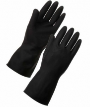 HEAVY WEIGHT BLACK RUBBER GLOVES SMALL SIZE7