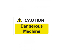 SIGN DANGEROUS MACHINERY 100X200MM SELF ADHESIVE
