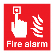 SELF ADHESIVE SIGN FIRE ALARM WITH FLAMES 100x100 S/A