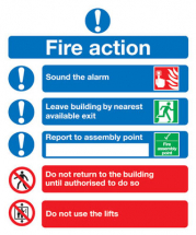 FIRE ACTION' SELF ADHESIVE SIGN 230X172MM