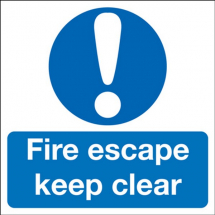 KEEP CLEAR FIRE EXIT' SELF ADHESIVE SIGN 150X450MM