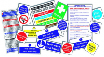 SENIOR HYGIENE CATERING PACK 17 SELF ADHESIVE SIGNS