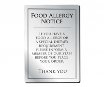 A4 WALL FOOD ALLERGY UNFRAMED NOTICE BRUSHED ALUMINIUM