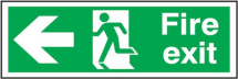 FIRE EXIT' MAN RUNNING ARROW LEFT RIGID SIGN 150X450MM