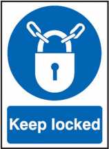 KEEP LOCKED' BLUE SIGN 210X148MM