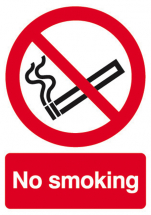 RIGID SIGN NO SMOKING 200mm x 150mm P01M-R
