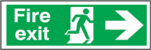 FIRE EXIT' MAN RUNNING ARROW RIGHT RIGID SIGN 150X450MM