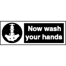 SIGN 'NOW WASH YOUR HANDS' 90X230MM SELF ADH  L957